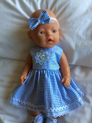 "Doll Clothes to fit 17"" Baby Born doll ~ Dress & hband  ~ Blue / White Check"