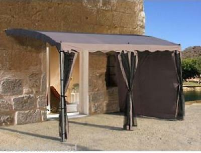 Grasekamp 3Piece Side Panels for Pergola, Taupe - polyester 275H x 400W x 300cmD