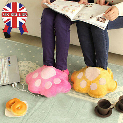 USB Electric Winter Heating Foot Warmer Shoes Soft Slipper Animal Leopard Claw**