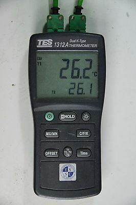 1 Pcs TES-1312A Digital Thermometer Dual Type K with Max/Min