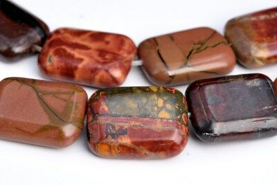 18x13MM Multicolor Picasso Jasper Rectangle Grade AAA Natural Loose Beads 8""