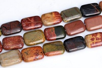 18x13MM Multicolor Picasso Jasper Rectangle Grade AAA Natural Loose Beads 16""