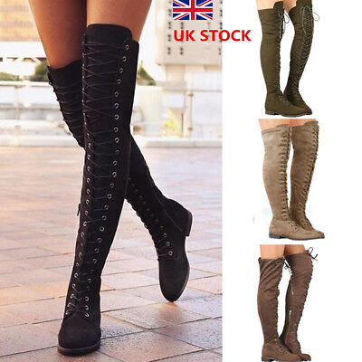 Women Over Knee Thigh Lace Up Zip Boots Ladies Casual Low Heel Round Shoes Size