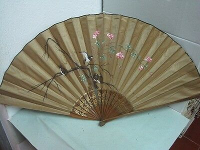 Antique big Fan craved in wood and fabric hand painted