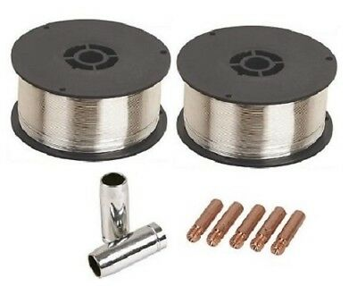 2 x 0.9Kg 0.8mm Gasless (Flux Cored) Mig Welding Wire (M6 Tips and Shrouds)