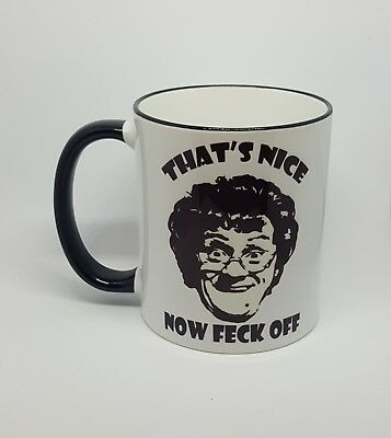 Funny rude cheeky mug Mrs Browns Boys tv comedy novelty present free gift box...
