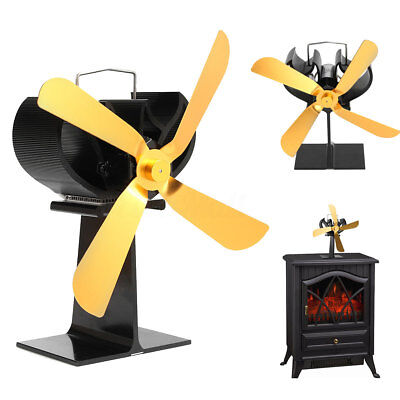 4 Gold Blades Heat Powered Stove ECO Fan For Log Wood Burner 17% Fuel Saving Fan