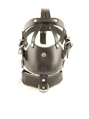 1X LEATHER Locking HEAD HARNESS MUZZLE Hand Tailored BRAND NEW Fetish