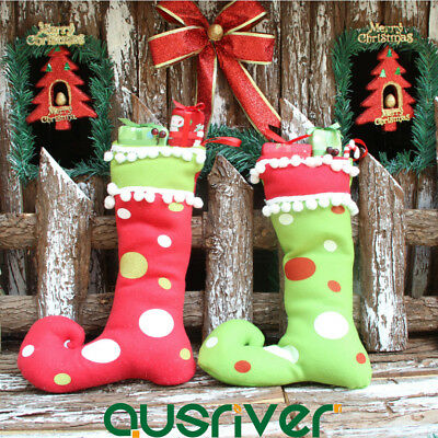 Christmas Tree Hanging Socks Boot Stocking Decoration Xmas Party Gift Candy Bag