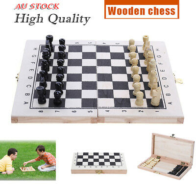Fashion Wooden Pieces Chess Set Folding Board Box Wood Hand Carved Gift Toy AU