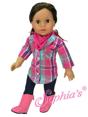 "Pink Plaid Shirt, Jeans, Boots, And Bandana For American Girl & Other 18"" Dolls"