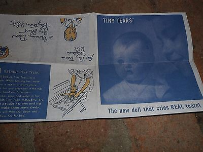 1950's American Character TINY TEARS LETTER AND  INSTRUCTIONS (REPRODUCTION)