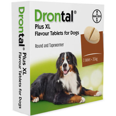 Bayer Germany Drontal Flavour Plus XL 2 tablets Dogs over 35 kg 77 lbs