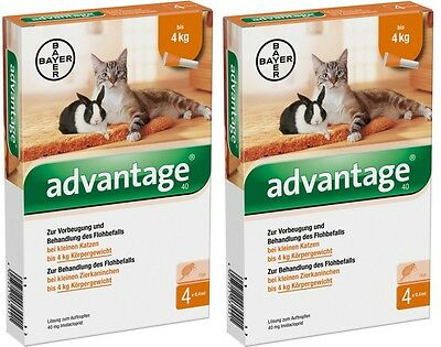 8 Pack ADVATAGE for cats or rabbits less than 9 pounds (<4kg) Bayer Germany