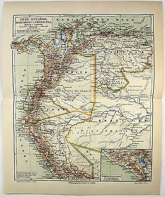 Original 1888 Map of Peru, Ecuador, Columbia & Venezuela by Meyers.