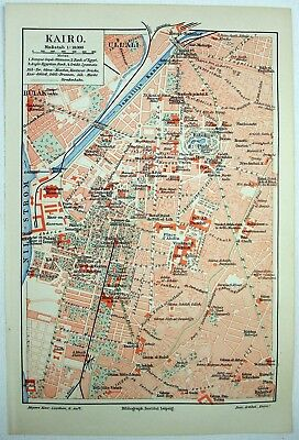 Original 1906 City Map of Cairo, Egypt by Meyers.