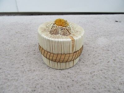 Great Lakes Indian Quill Birch Bark Sweetgrass Basket Box First Nation