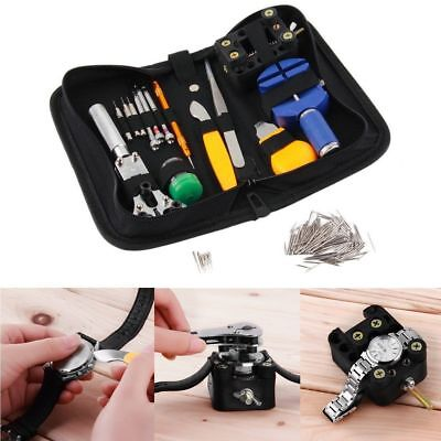 144 Pcs Watchmaker Watch Repair Tool Kit Back Case Opener Remover Spring Pin AZ