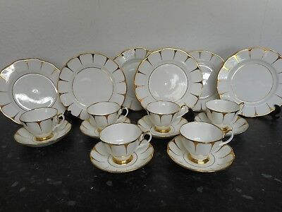 Royal Vale Bone China x 6 Cups and Saucers and Side Plates  Gld Strike