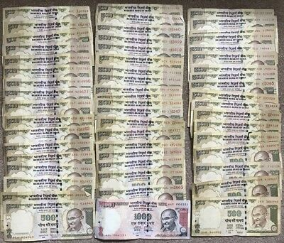 Reserve Bank of INDIA x 55 Banknotes  1 x 1,000 Rupees and 54 x 500 Rupees