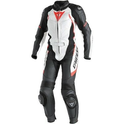 Dainese Avro D1 2-pc Womens Leather Motorcycle Suit White/Black/Fluo Red 42 Euro