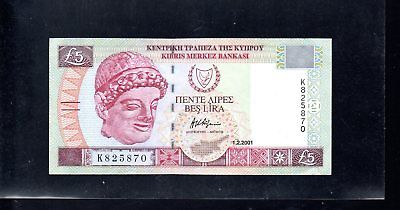 CYPRUS £5 Five Pounds Banknote 1.2.2001