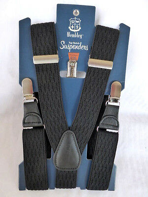 Wembley Top Notch Suspenders Wemco Polyester Black S-XL NEW 21WE51X014