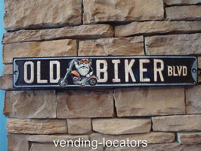 OLD BIKER BLVD Harley Motorcycle Retro Embossed METAL SIGN New