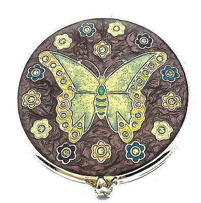 Butterfly Hand Held Makeup Compact Mirror 941 Small Trinket Bejeweled Enameled