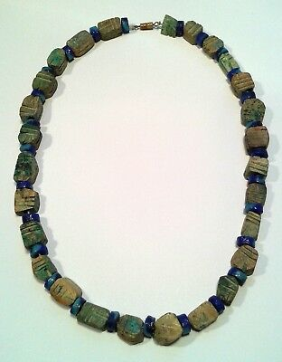 Antique Ancient Egyptian Faience Stone Scarab Beetle and Glass Beaded Necklace