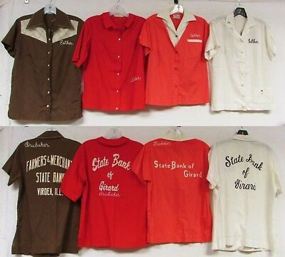 Lot of 4 Vintage 60s 70s Bowling Shirts King Louie Chain Stitch Rockabilly Pinup