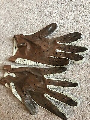 Vintage St Michael Gloves 100% Leather Tan Brown Size Large