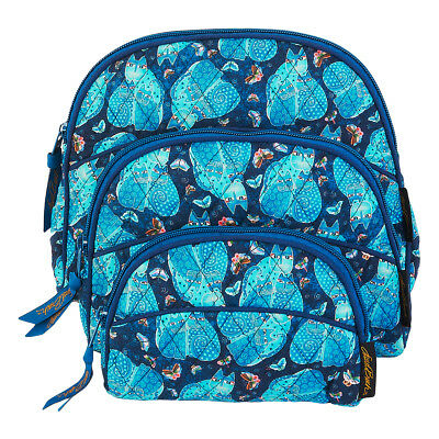 Laurel Burch Indigo Cats Quilted Blue 3 Piece Cosmetic Set Bags Makeup Bags