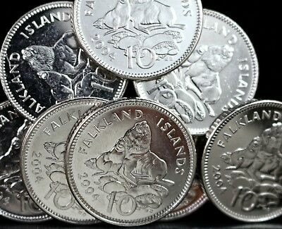 Rare Falkland Islands Sea Lions 10P Pence Coin 2004 * Great British Coin Hunt *