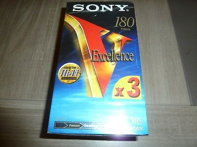 Lot 3 Cassettes Vhs Vierge Sony 180 Neuf K7