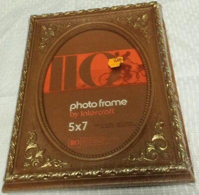 Mid-Century Brown w/ Gold Heavy Plastic Vintage Photo Frame NIP 5x7 (Home Decor)