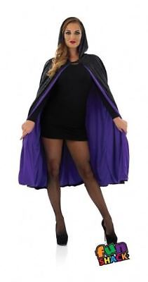 New Purple Velour Hooded Cape Unisex Halloween Fancy Dress Costume Witch Vampire