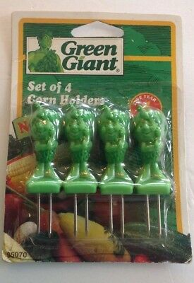 Vintage Jolly GREEN GIANT Little Green SPROUT Corn Holders (Pillsbury) New 1994