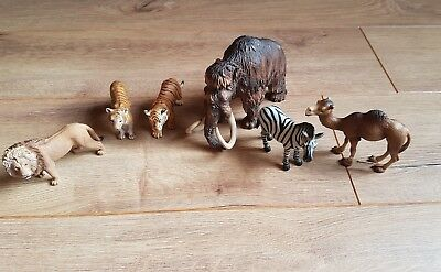 Mixed bundle of schleich animals, Zebra, Mamoth, Lion, Camel & 2 tigers toys