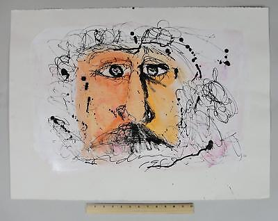 1988 Large Original ADNAN CHARARA Modernist Portrait Mixed-Media Painting