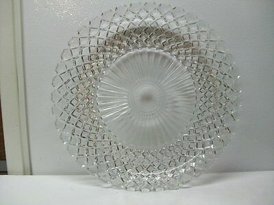 """Anchor Hocking Depression Glass Waterford Crystal Waffle 13 3/4"""" Sandwich Plate"""