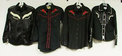 Lot of 4 Vintage Contemporary Western Shirts Rose Pearl Snap Cowboy Cowgirl