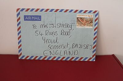 1999 Australia on Blue Airmail Letter, $1.20 Pink Cockatoo Stamp