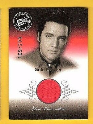 ELVIS PRESLEY RELIC MEMORABILIA WORN RED SHIRT CARD FROM 1968 MOVIE GOLD #d299