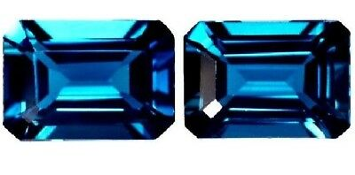 NATURAL EXCEPTIONAL LONDON BLUE TOPAZ LOOSE GEMSTONE (PAIR) EMERALD CUT 6 x 4 mm