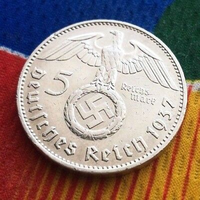 1937 F  5 Mark WW2 German Silver Coin  Third Reich Reichsmark