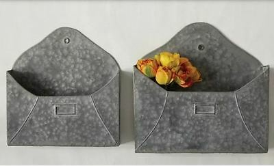 METAL ENVELOPE WALL POCKET- SET OF 2~Urban Farmhouse