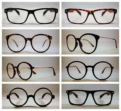 Retro Geek Vintage Cat eye New Nerd Frame Fashion Black Round clear lens glasses