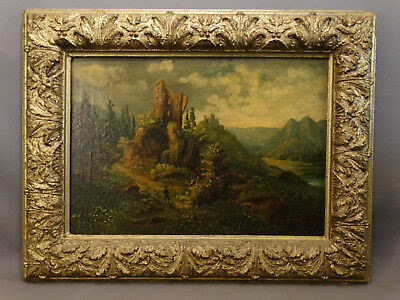 19thC Antique VICTORIAN Era RIVER VALLEY Old CASTLE RUINS Oil PAINTING & FRAME