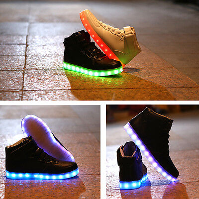 Boys Girls High Top LED Light Shoes Kids Lace Up Luminous Shoes Casual Sneakers